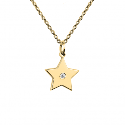 VIVIAN gold star pendant with a diamond