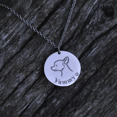 YUM silver pendant with diamond for the pet lovers