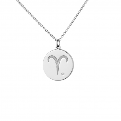 Silver pendant with a sign of zodiac and diamond ZODI