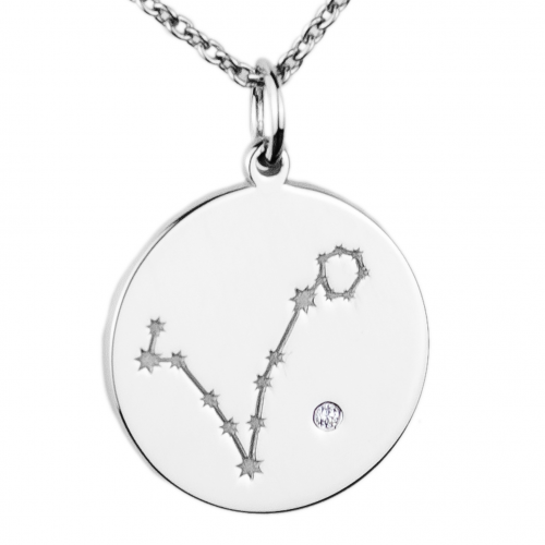 Silver pendant with a zodiac constellation and diamond ZODIAC