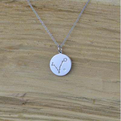 Silver pendant with a zodiac constellation and diamond ZODIAC