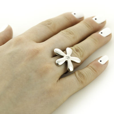 Original flowers sterling silver or gold ring with diamond ALVDAL
