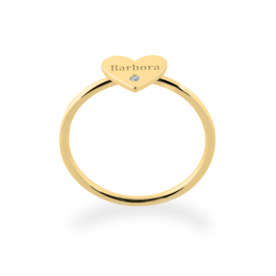 Zlatý prsten s gravírem a diamantem BELE