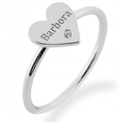 Stříbrný prsten s gravírem a diamantem BELE