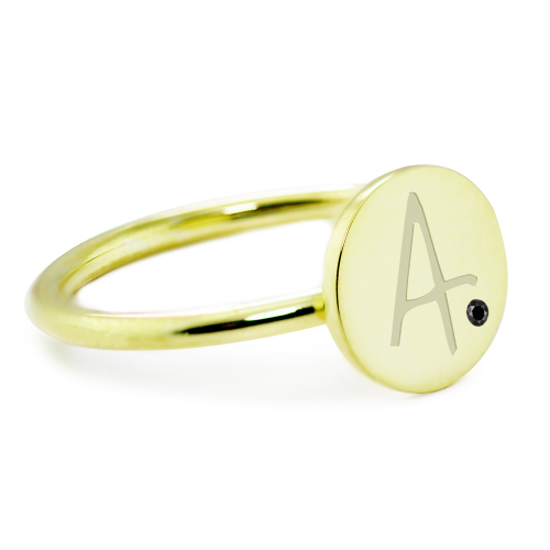 Gold minimalistic Bery ring with a diamond