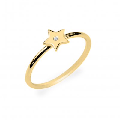 Minimalistický zlatý prsten ve tvaru hvězdy s diamantem BETTY