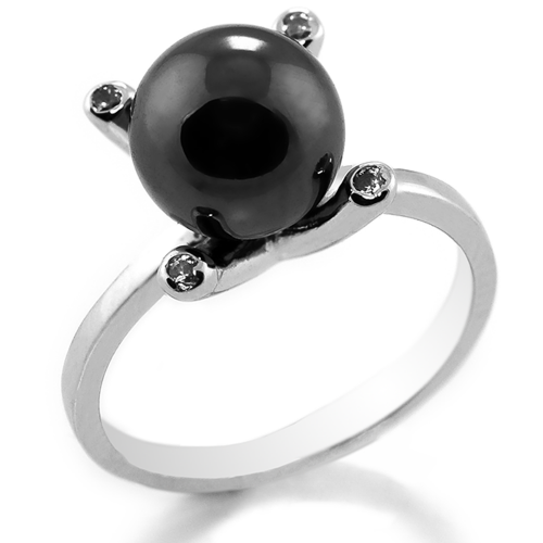 Ring with hematite and diamonds BURAS