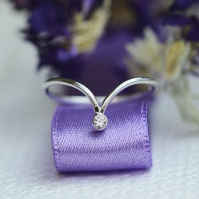 Gold minimalistic teardrop ring with diamond CAREN
