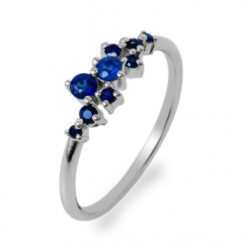 Gold cluster ring with sapphires CLARA