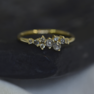 Gold ring with salt and pepper diamonds CLARA