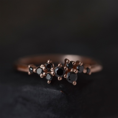Gold ring with black diamonds CLARA