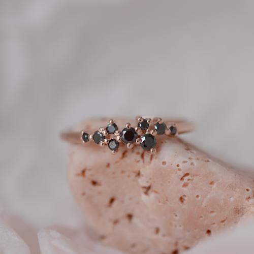 Gold ring with black diamonds CLARA