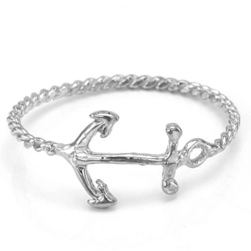 Unique Sterling Silver and White Gold anchor ring COMFO