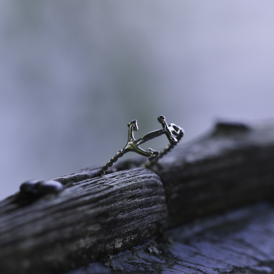Minimalist sterling silver anchor ring COMFO