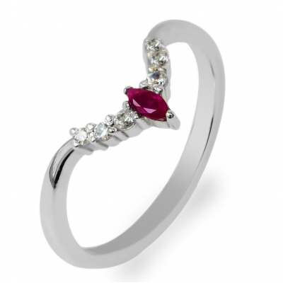 Gold diamond ring with ruby CROWN
