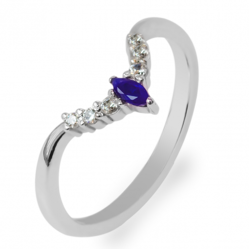 Curved diamond band with sapphire CROWN