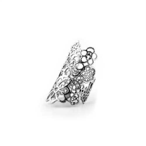 Gold or silver ring with flowers (adjustable size) - DESSET