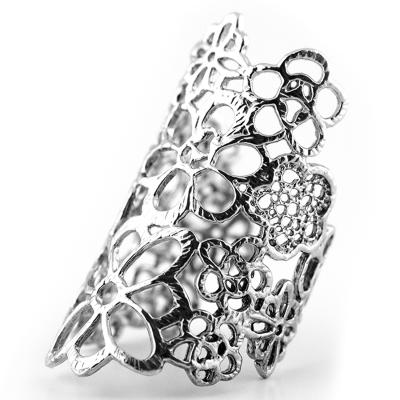 Zlatý nebo Stříbrný prsten s květinami s nastavitelnou velikostí DESSET