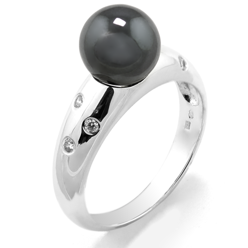Hematite ring with diamonds DOGA