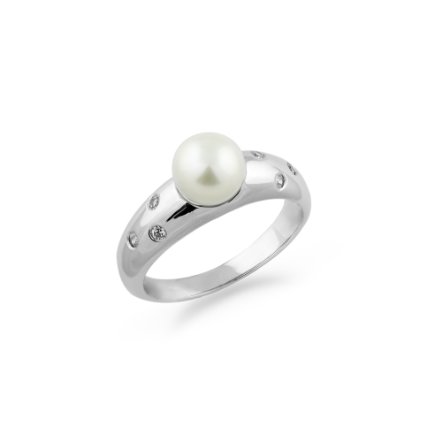 Pearl ring with diamonds DOKKA