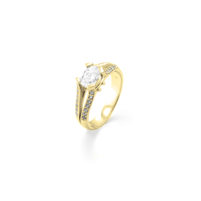 Gold engagement ring with diamonds 1.18ct  FITA