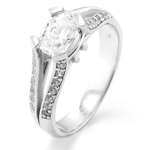 Engagement ring with moissanite and diamonds FITA