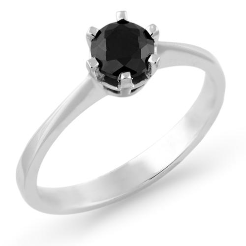 Platinum engagement ring with black diamond 0.5ct FLORA