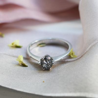 Zlatý prsten s rutil quartzem FLORA