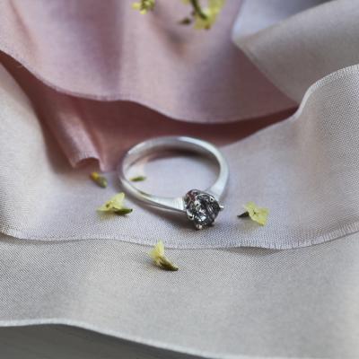 Gold ring with rutile quartz FLORA