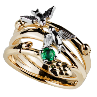 Gold ring with emerald GINA