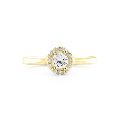 A gold ring with halo stones and diamonds HALOY