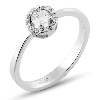 A platinum ring with halo stones and diamonds HALOY