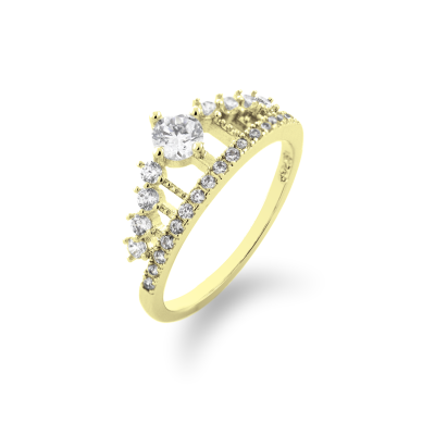 HEBO gold engagement ring in the shape of crown - prosperity and power