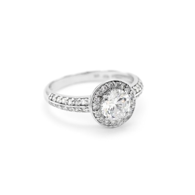 Halo ring with moissanite and diamonds IMSROA