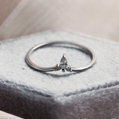 Minimalist gold ring with diamonds JANIS