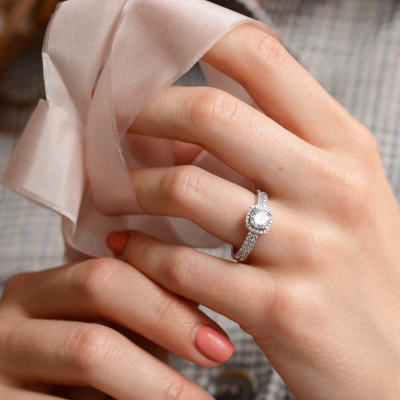 Diamonds and moissanite engagement ring KATI