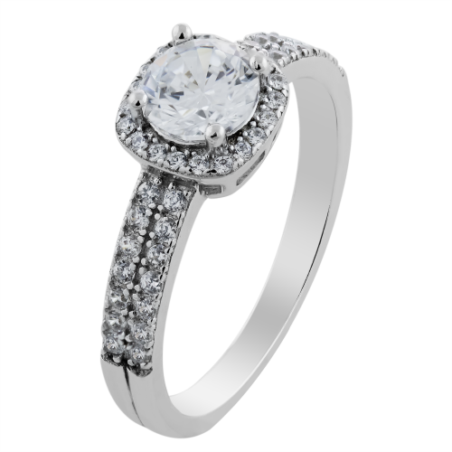 Diamonds and moissanite engagement ring KATI