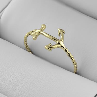 Jednoduchý prsten ze zlata s kotvou COMFO