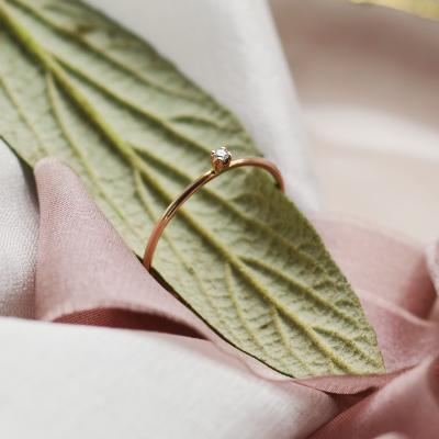 Gold minimalistic ring with diamond LAUDE