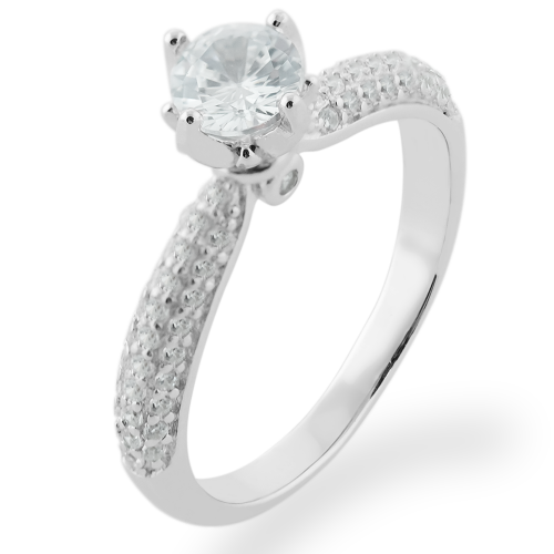 Classic moissanite and diamond engagement ring LIVKE