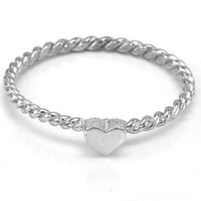 Simple silver ring with tiny heart LUSI