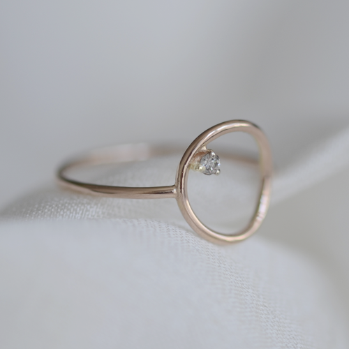 Gold minimalist ring with salt and pepper diamond MERIDA