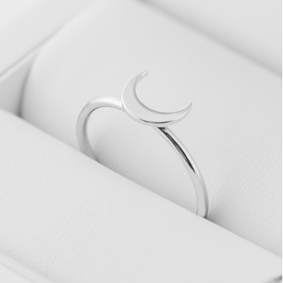 MISE crescent shape silver ring