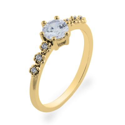 MISI gold diamond engagement ring with moissanite 0.5ct