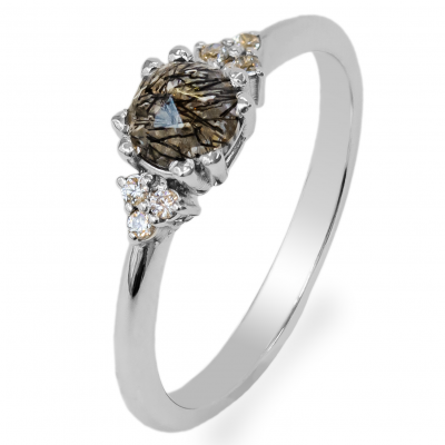 Gold ring with quartz and diamonds MONNY