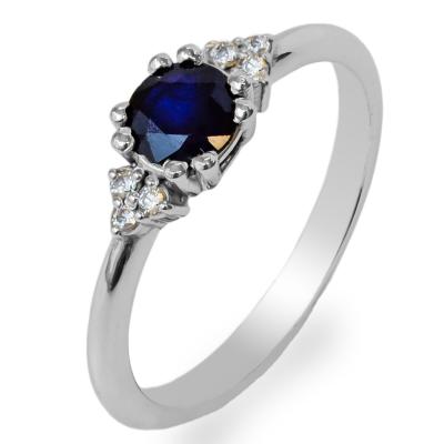 Zlatý prsten s kulatým safírem a diamanty MONNY