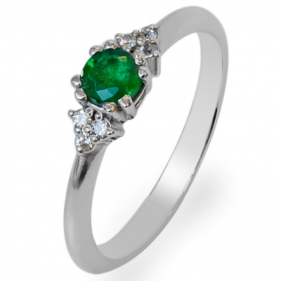 Gold ring with diamonds and emerald MONNY