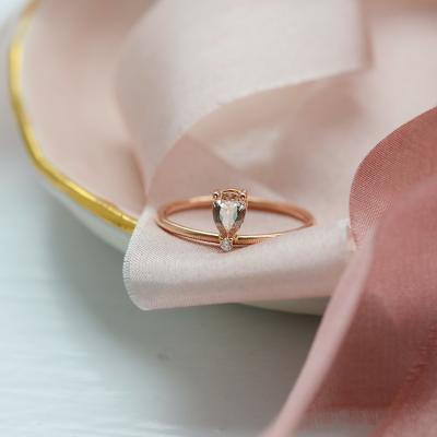 Prsten z růžového zlata s morganitem a diamantem MORGAN