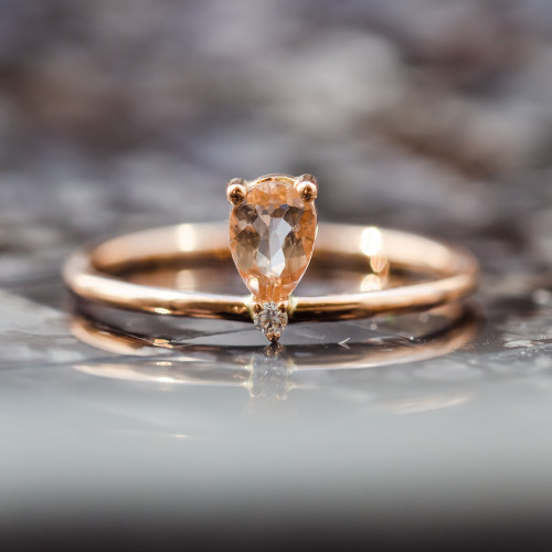 Rose gold ring with morganite and diamond MORGAN
