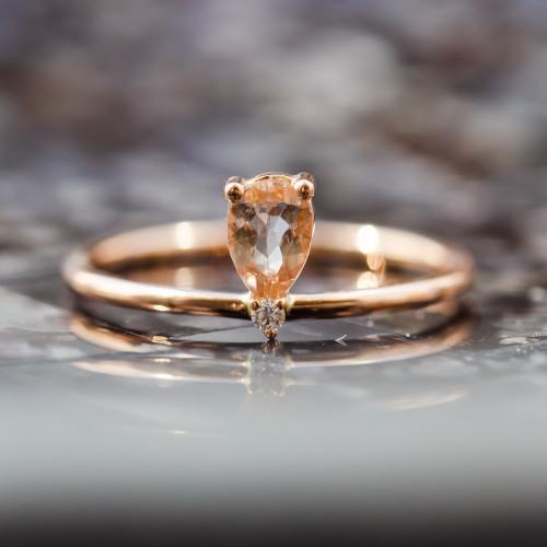 Rose gold ring with morganite and diamond MORGAN